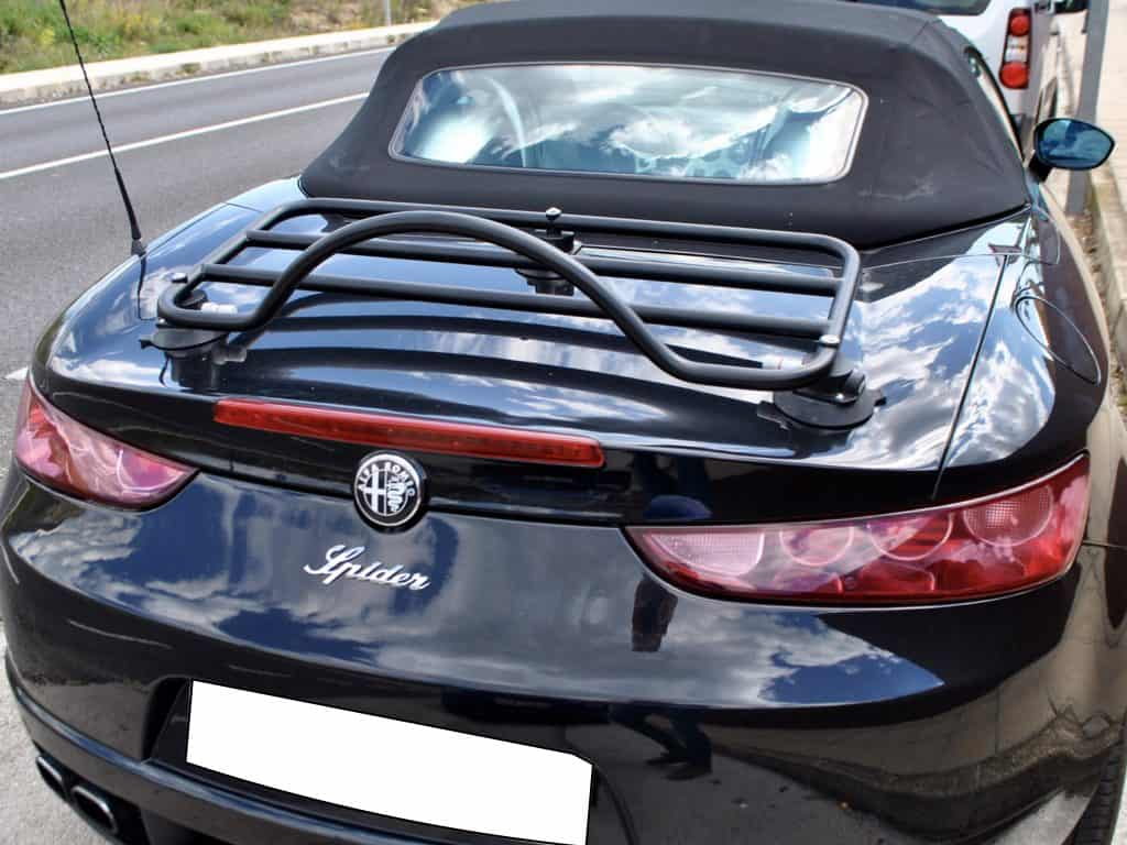 alfa romeo spider 939 brera convertible with a boot rack fitted photographed from the back