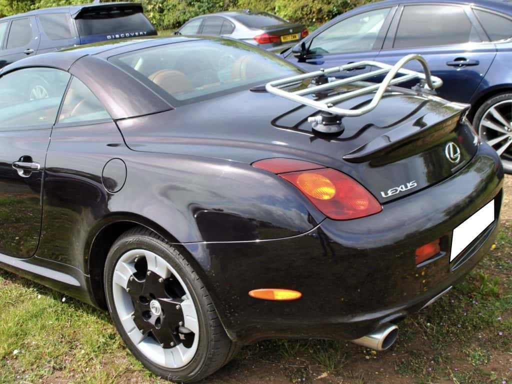 black lexus sc430 with a revo-rack ps luggage rack fitted