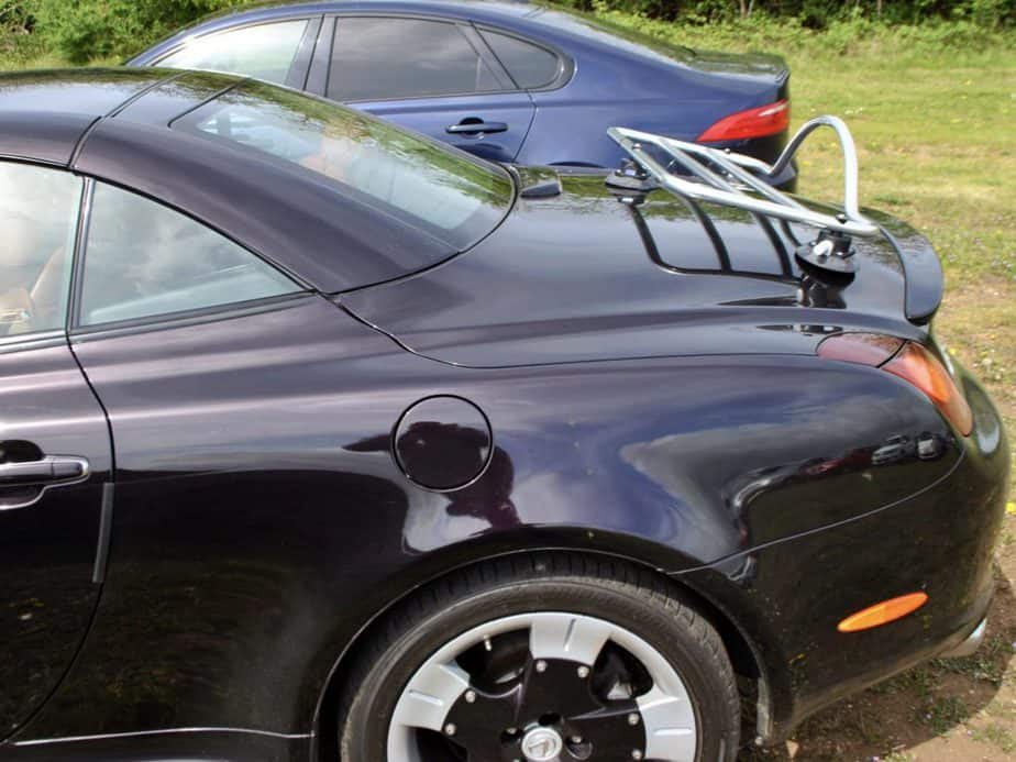 side view of a lexus sc430 with a revo-rack pa luggage rack fitted