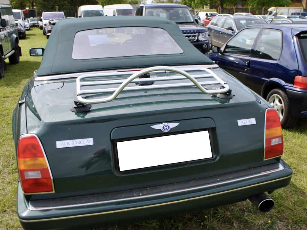 green bentley azure cabriolet with a revo rack luggage rack fitted to the boot lif