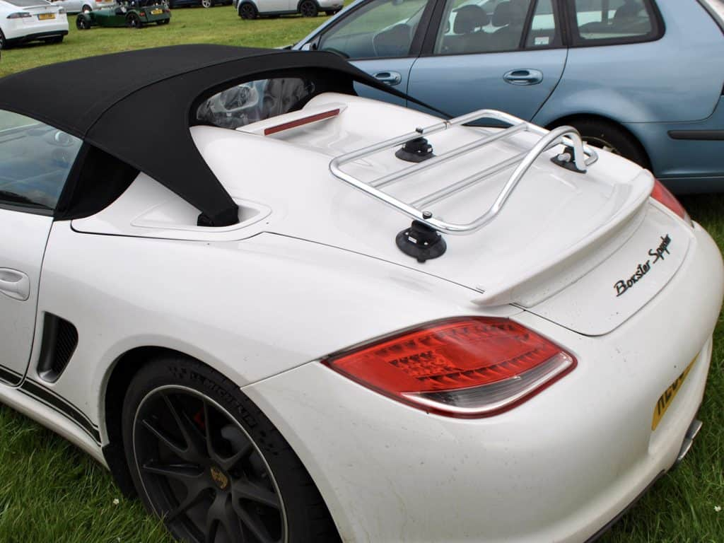 porsche boxster spyder with a trunk rack fitted