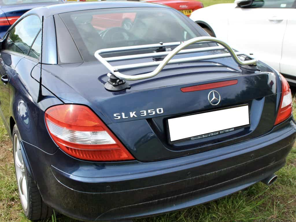 blue mercedes slk 350 r171 with a stainless steel luggage rack fitted to it