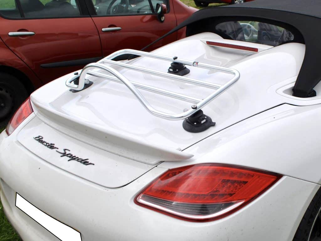 white porsche boxster spyder with a revo rack pa luggage rack fitted