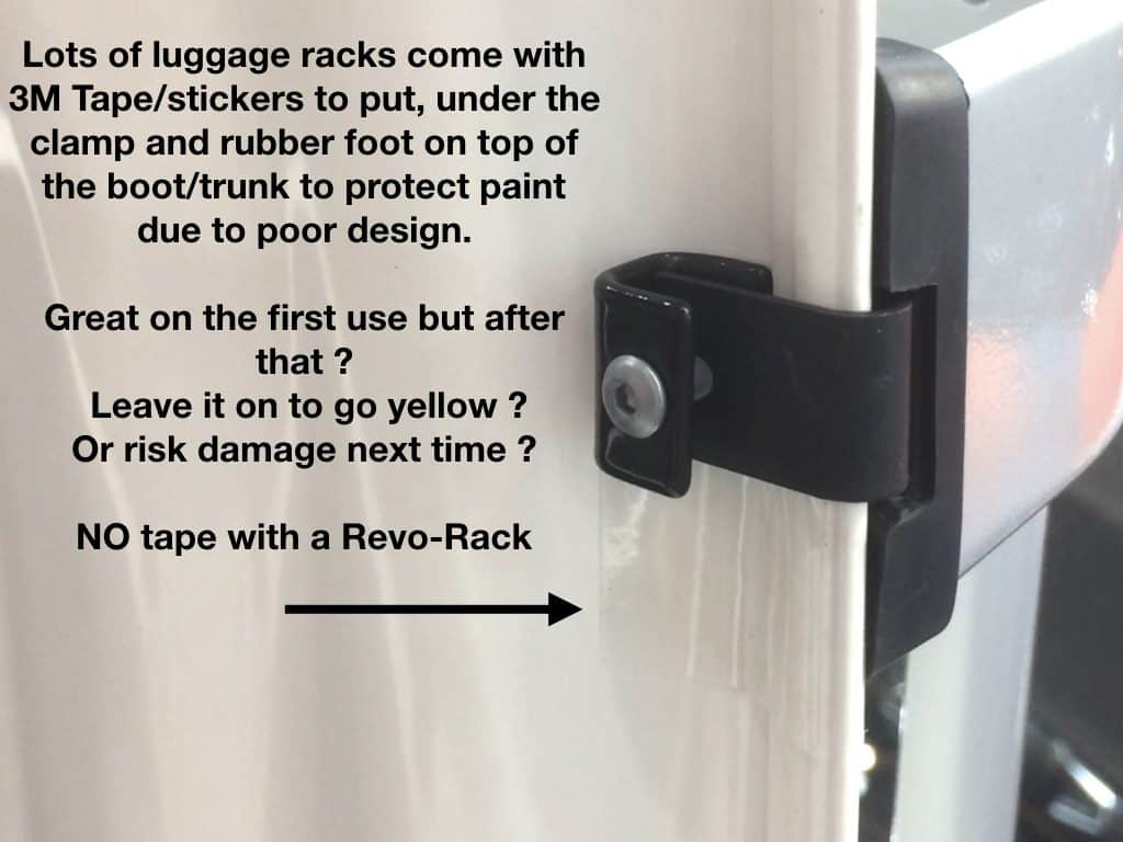 luggage rack clamp using 3M tape to protect paint