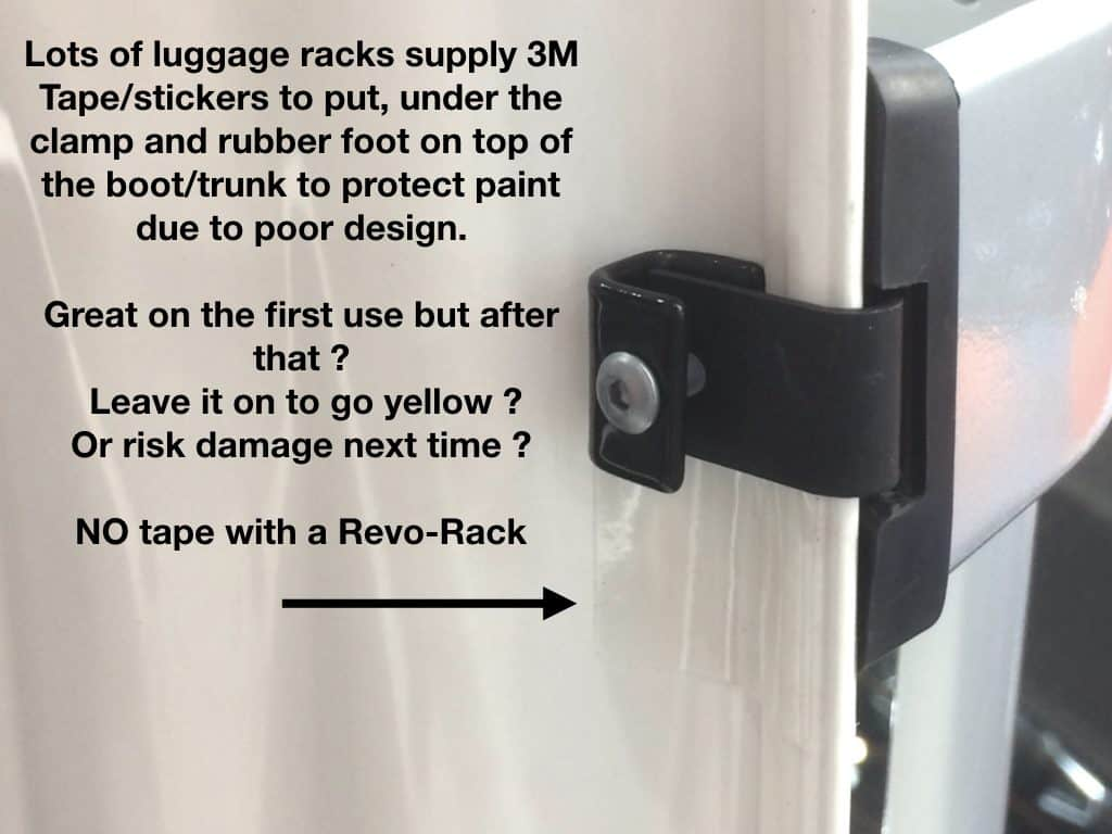 luggage rack clamp with 3M tape under it protect paintwork